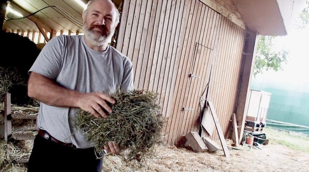 Laurent, avec du foin séché en grange.